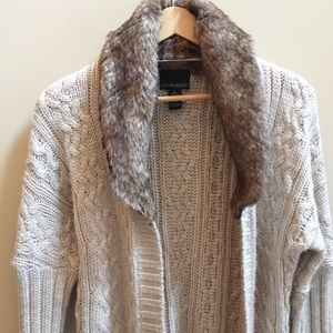 Cynthia Rowley open Front Cardigan Faux Fur Collar